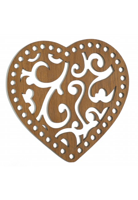 Heart-Shape 20cm Wooden Plate
