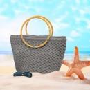 Yuvarlak Askılı Plaj Çanta Kiti Füme