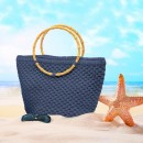 Yuvarlak Askılı Plaj Çanta Kiti Kot Rengi