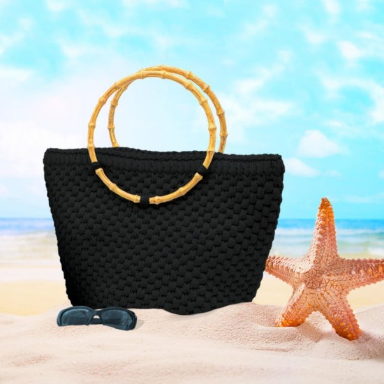 Yuvarlak Askılı Plaj Çanta Kiti Siyah