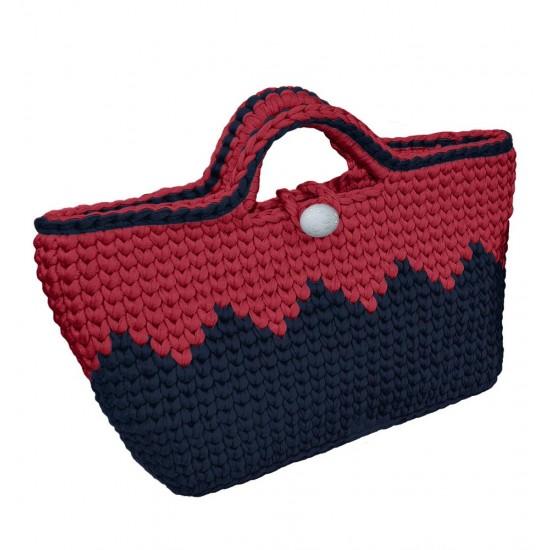 Zigzag Çanta Kiti Lacivert - Kırmızı